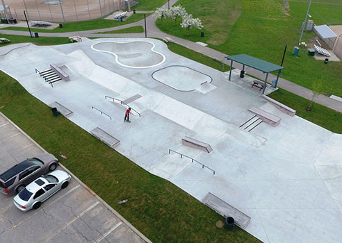 overhead drone photo of the skatepark at gellert