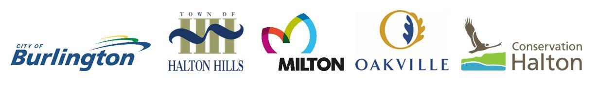 Municipal logos: City of Burlington, Halton Hills, Milton, Oakville, Conservation Halton